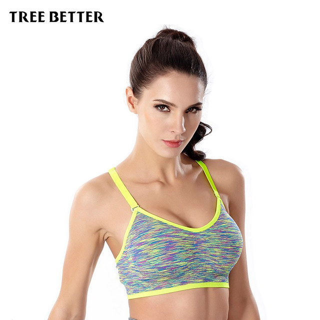 Shockproof quick dry wireless sports Bra No steel ring Padded Yoga Bras vest jogging underwear Fitness Push Up Running Brassiere