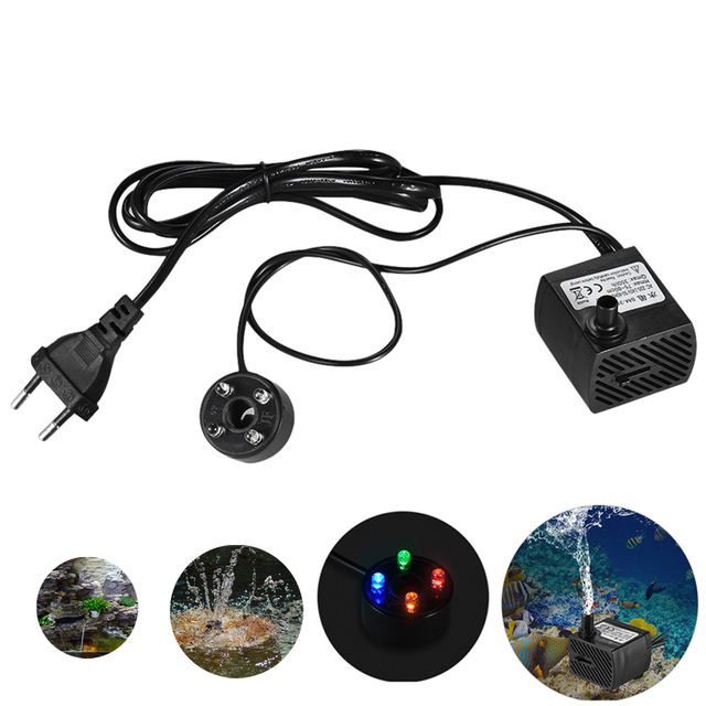 Beau Quiet Aquarium Submersible Water Pump For Fish Tank Tabletop Fountain With  LED Light Adjustable Flow Rate