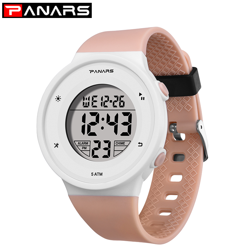 PANARS Student Large Screen Display Electronic Watch Xfcs LED Wristwatch Kids Luminous Function Silicone Strap Nino Digital