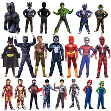 22 styles Spiderman Superman IronMan Cosplay Costume pour enfants Halloween fête loup garou hulk Thor Antman panthère combinaison costume(China)