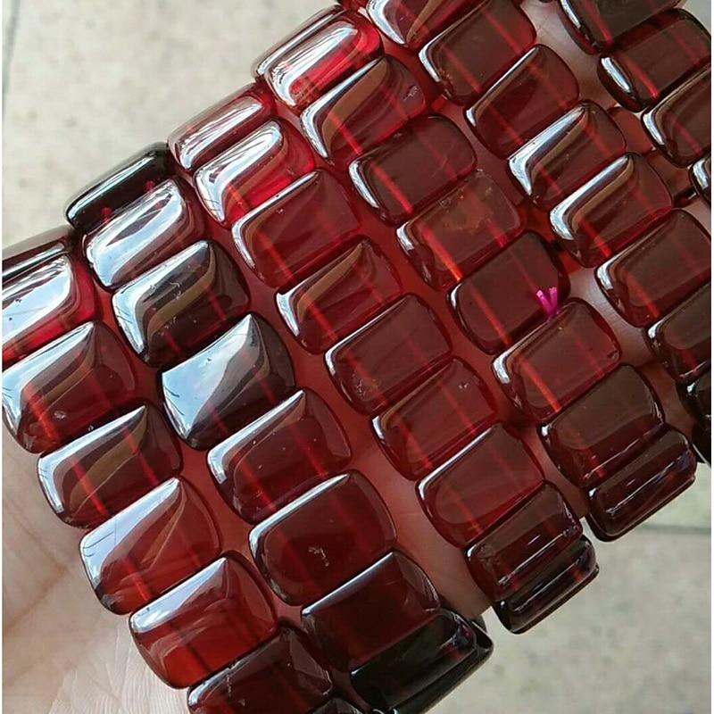 Оптовая оранжевый красный гранат природный камень Браслеты модные рука строка Красота Lucky для девочек подарок Для женщин камень Браслеты ювелирные изделия - 5