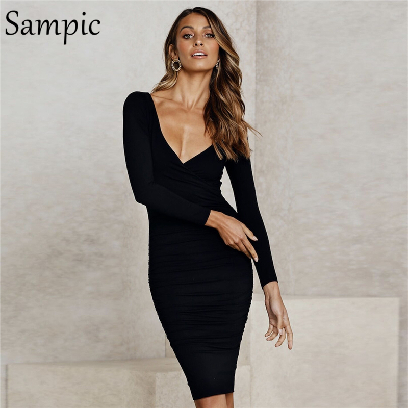 Sampic Elegant Woman Office Party Bodycon V Neck Wrap Dress Long Sleeve Sexy Autumn Winter Club Midi Dress 2019(China)
