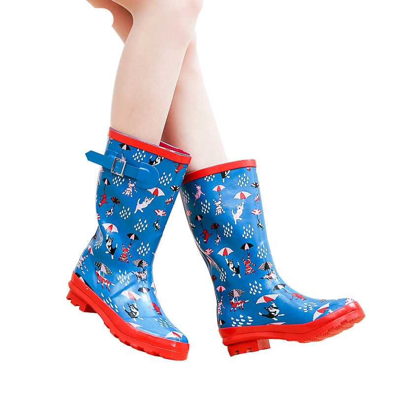 SWYIVY Rain Boots Woman Rubber Shoes Autumn Winter 2018 Female Flower Water Proof Rainboots Comfortable Mid High Rain Boots ...