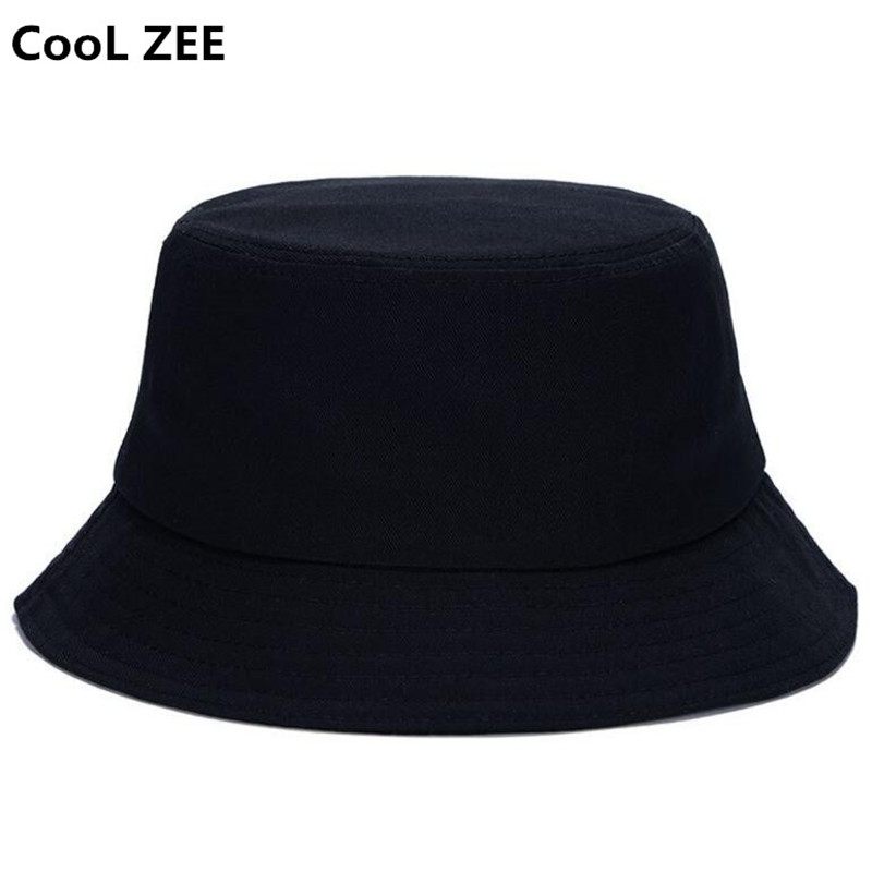 10faf20b 10 color Hot summer DIY unisex solid flat cot black white outdoor bucket hat  for men women travel sun hat hiking fishing cap