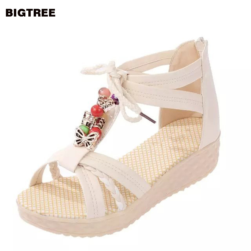 BIGTREE New  Women Sandals Low Heel Wedges Summer Casual Single Shoes Woman Sandal Fashion Soft Sandals Free Shipping 22 MFT soom cheshire 1 4 bjd sd doll supergem yosd toy luts doll fairyland volks bb free eyes