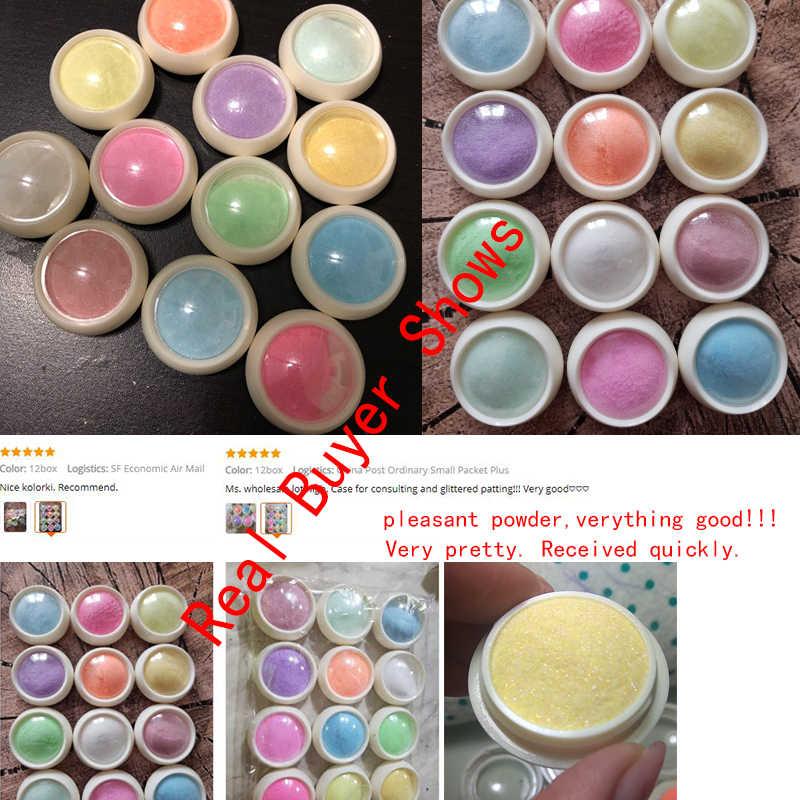 12 Box/set Mermaid Nail Glitter Bubuk Wol Gula Starlight Efek Chrome Desain Nail Art Glitter DIY Kuku Pigmen Bubuk