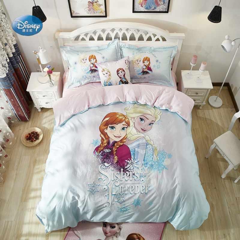 Disney Biru Muda Frozen Elsa Anna Set Tempat Tidur Gadis Kamar Tidur Anak  Dekorasi 100% Sprei Katun Selimut Penutup Set 3/4 Pcs|bedding Set  Girl|duvet Cover Setbedding Set - AliExpress