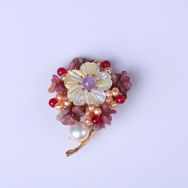 все цены на Italian design high-grade natural shaped pearl unique clothing for women brooch noble one flower brooch pendant dual use