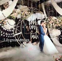 Custom 70.87'' Gold White Moon Ship Metal Iron Arch Decor Wedding Stand Backdrop Cake Stand Shelf Crescent Wedding Moon Arch