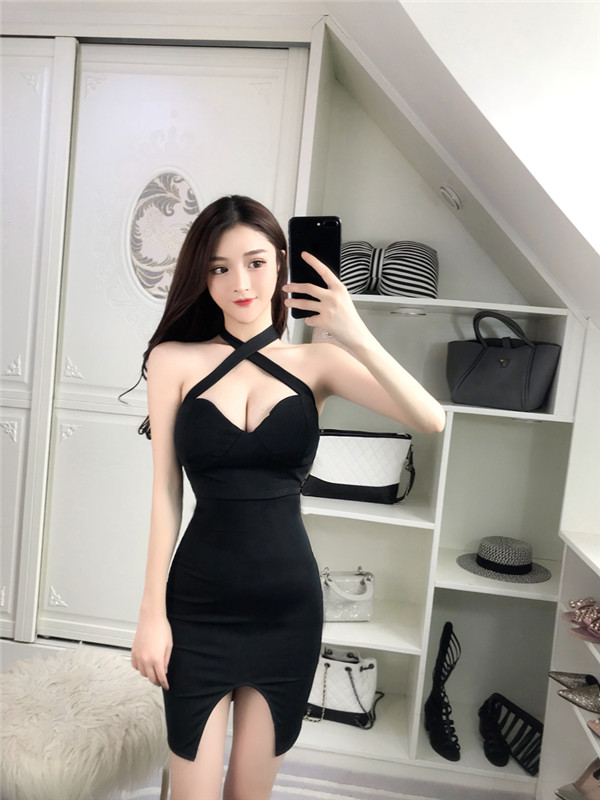 3567f1b199bd6 US $12.28 43% OFF|Real shot temperament fashion casual dress 2018 new sexy  low cut backless straps hip dress straps slit short dress-in Dresses from  ...