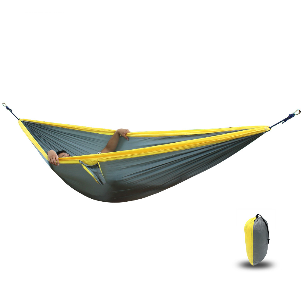 210T Nylon Parachute Hammock Light Weight Outdoor Camping Portable Single Hammock with hammock ropes and hammock carabiners hammock 300 200cm 210t nylon outdoor furniture 2 people portable parachute hammock camping survival garden flyknit hunting hamac
