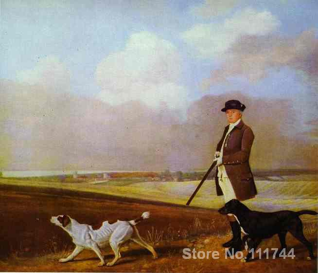 Sir John Nelthorpe 6th Baronet Out Shooting With His Dogs In Barton Field Lincolnshire by George Stubbs High quality Handpainted