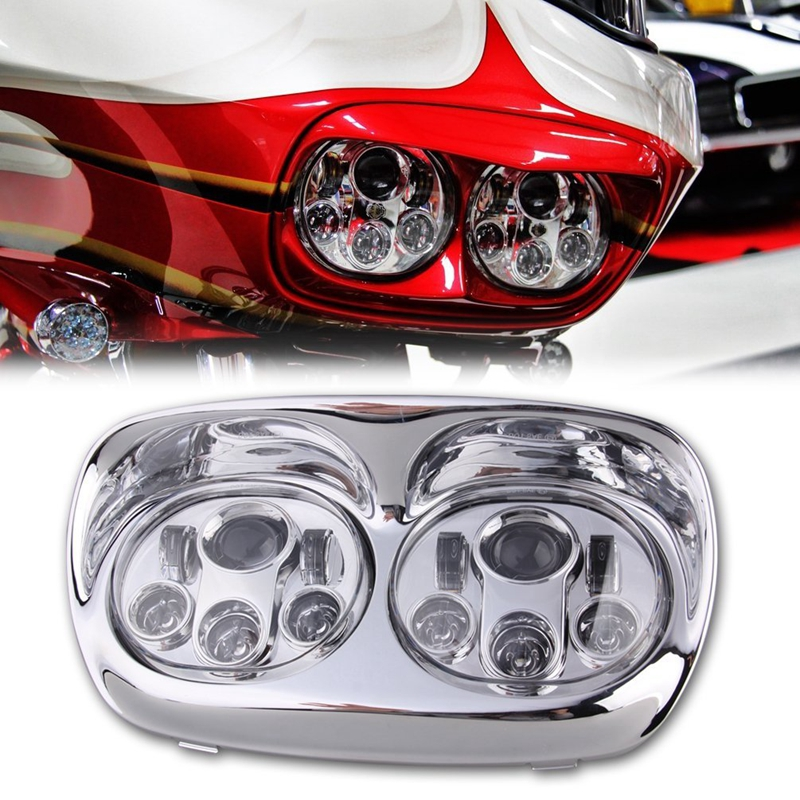 Dual 7 Daymaker LED Replacement Road Glide Light Bulb Headlight Motorcycle Harley with Bezel 7inch motorcycle daymaker replacement led headlight