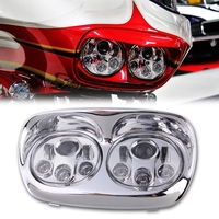 Dual 7 LED Replacement Road Glide Light Bulb Headlight Motorcycle with Bezel