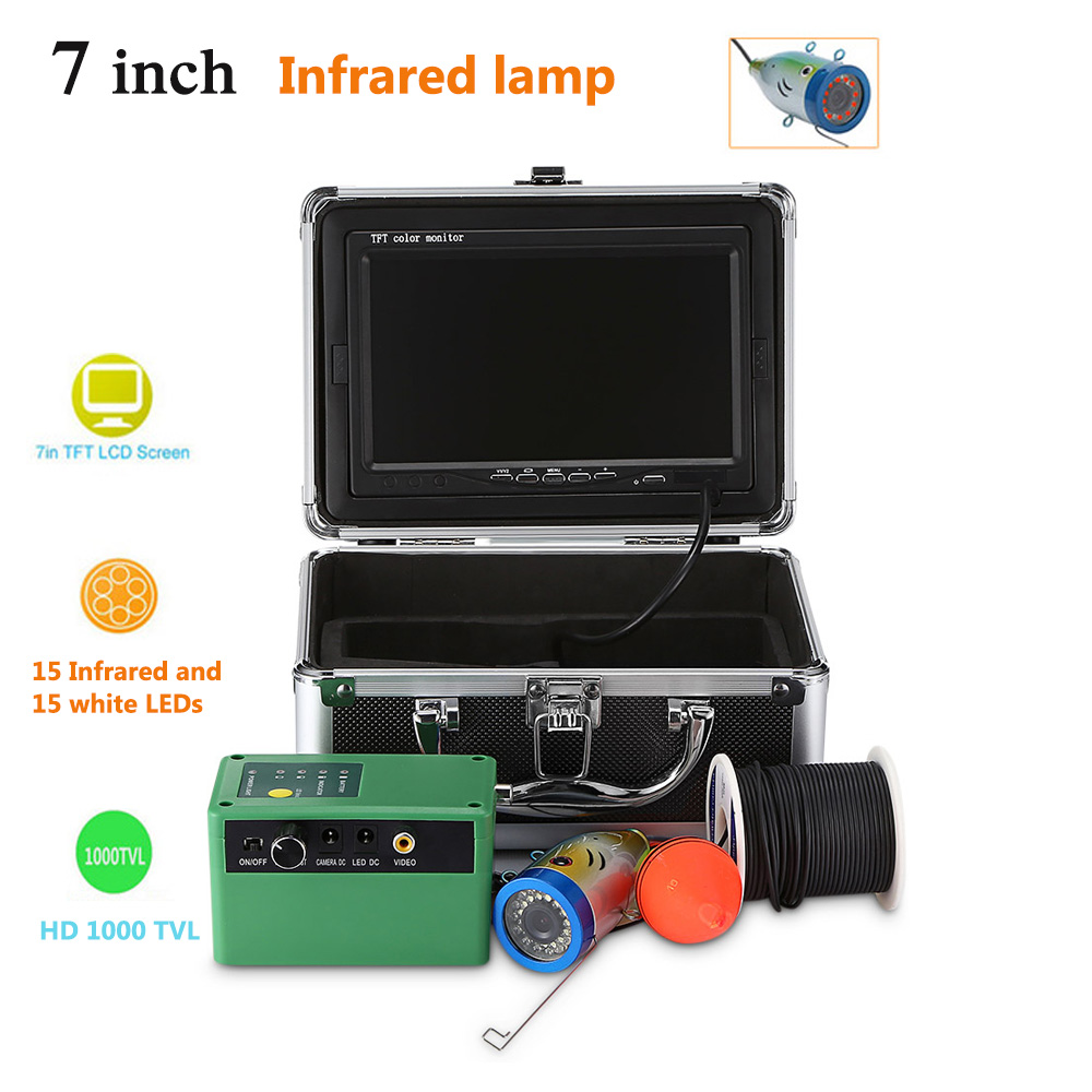 HD 1000TVL Fish Finder Camera Fishing 7.0 Inch TFT 15 Infrared And 15 White LEDs Underwater Fish Finder with Light on/off