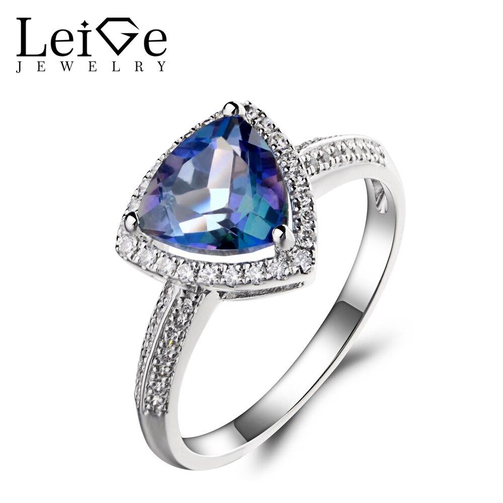 Leige Jewelry Neptune Garden Topaz Ring Wedding Ring Trillion Cut Blue Gemstone 925 Sterling Silver November