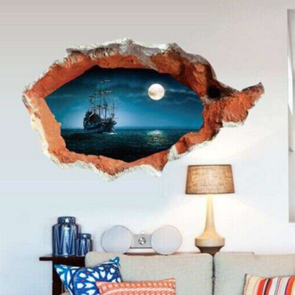 Posters for bedroom doors - 1pcs Cool Style Sea Wall Sticker Sunset Boating Bedroom Poster House Door Quarto Mural Wall Decals