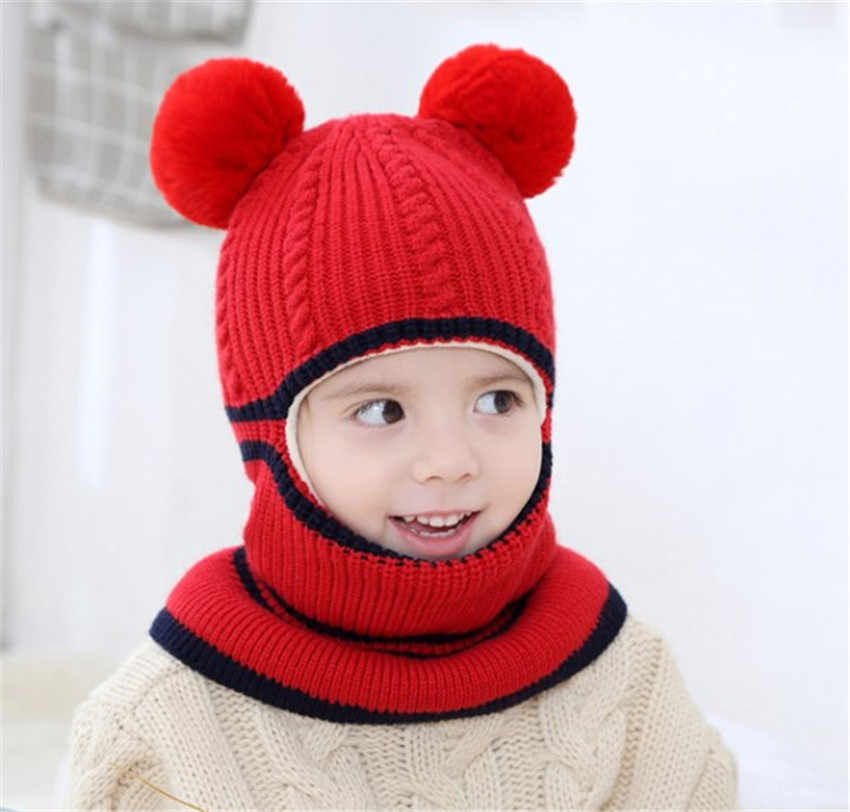 814b7f0755c4e ... Yyun Children winter Balaclava Boys Girls Warm Soft Knit Beanie Scarf Toddler  Kids Pompom Face Mask ...