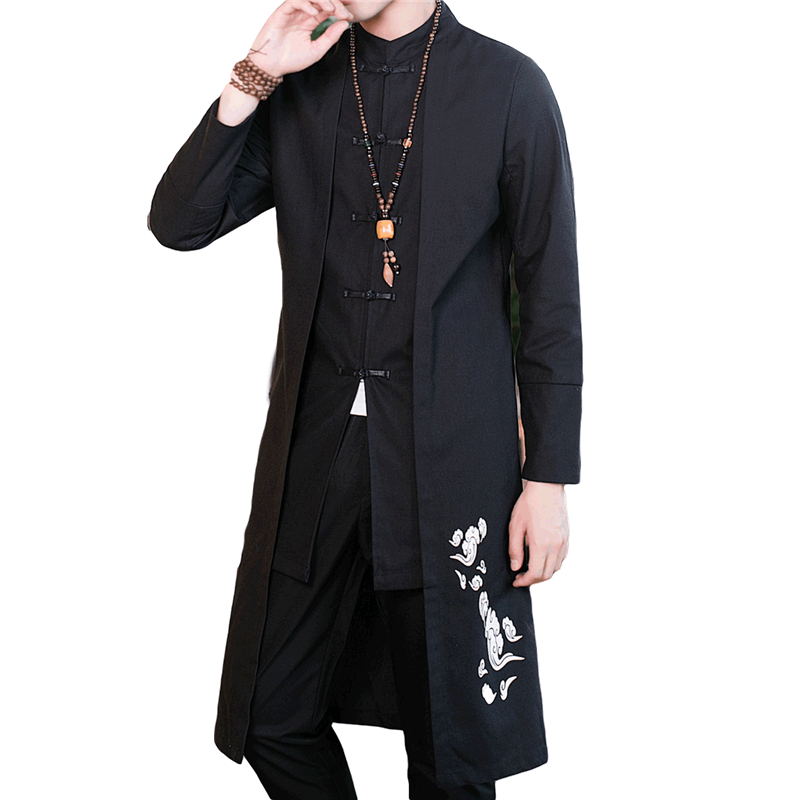 5XL Black Long Jacket Men Chinese Style Coat Mens Fashion Casual Jaqueta Autumn New Style   Trench   Coats