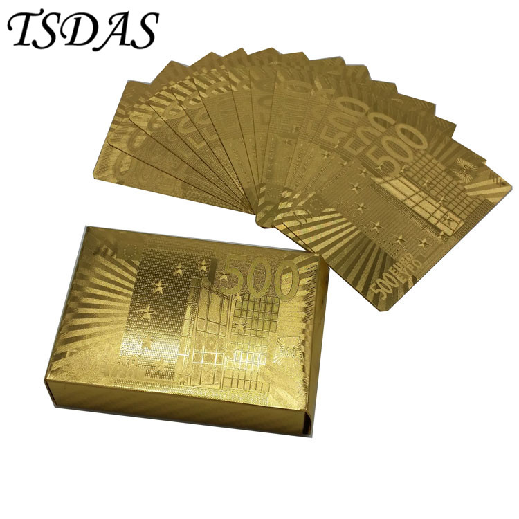 500 Euro 24k Gold Joker hrací karta Vodotěsné, 999.9 Gold Poker karty Nejlepší svatební dary Doprava zdarma