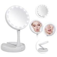 Abody зеркало светодио дный LED освещенное зеркало для макияжа Регулируемая подставка стол три раза с ящиком для хранения Органайзер 10X увеличительное зеркало подарки