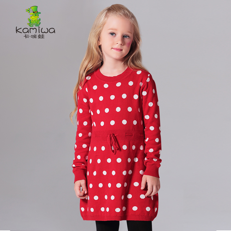 ФОТО KAMIWA Dot Knitted Girls Dresses Long Sleeve Sweaters Pullovers Spring Autumn Basic T-Shirts Children's Clothing Kids Clothes