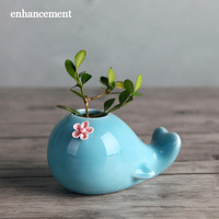 Lovely Creative Hydroponic Ceramic Vase Flowers Cartoon Whale Home Decoration Flower Pot Designed By Jingdezhen Collee