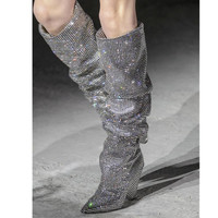 Mstacchi New Luxury Crystal Shoes Woman Pointed Toe Knee High Boots Sexy Rhinestone Chunky Spike Heel Boots Ladies Botas Mujer