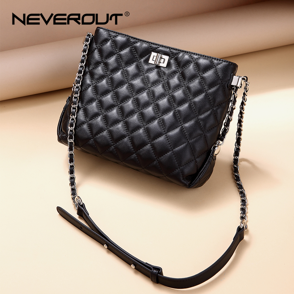 NEVEROUT Classic Lattice Hobos Bags for Women Sheepskin Genuine Leather Ladies Cross body Bag Summer Quilted