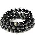 Natural  Black Obsidian Beaded Bracelet Natural Stone Quartz Strand Bracelet Fashion Jewelry Wholesale
