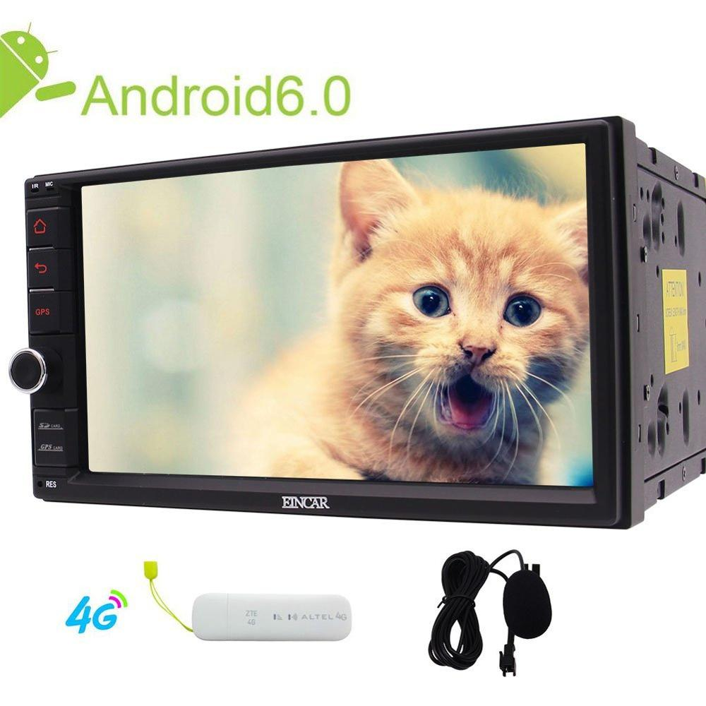 In Dash Car NO DVD Player Android 6.0 Quad-core Car Stereo with 7 inch Radio GPS Navigation Headunit External MIC+4G Dongle