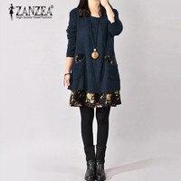 Zanzea Plus Size Womens Autumn Fashion Flower Print Thick Dress Lady Long Sleeve Casual Loose Mini