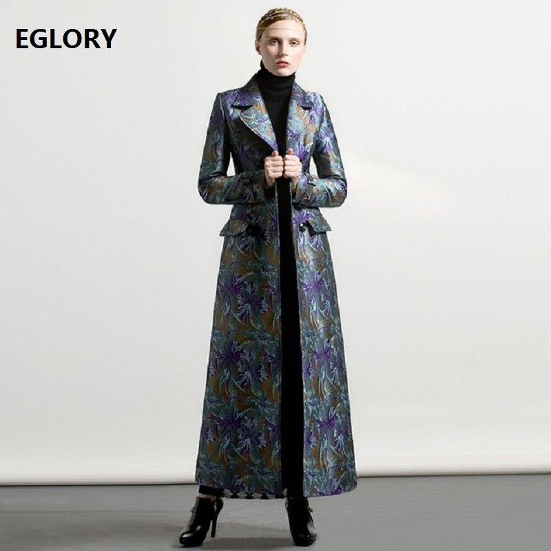 XXXXL!Super Quality New 2018 Autumn Winter Long Coats   Trench   Women Double Breasted Vintage Jacquard Print Casual Windbreaker