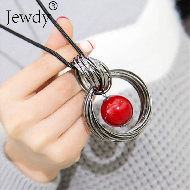 Красный, белый жемчугом Кулон Длинные Ожерелья для мужчин Новые круги имитация женский, черный цепи Макси Цепочки и ожерелья Модные украшения оптовая продажа подарок