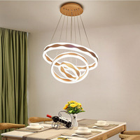 Modern Led Chandelier Lighting With Remote Control Aluminum Lustre Ring Lamp For Living Room Bedroom Restaurant Kitchen Fixtures