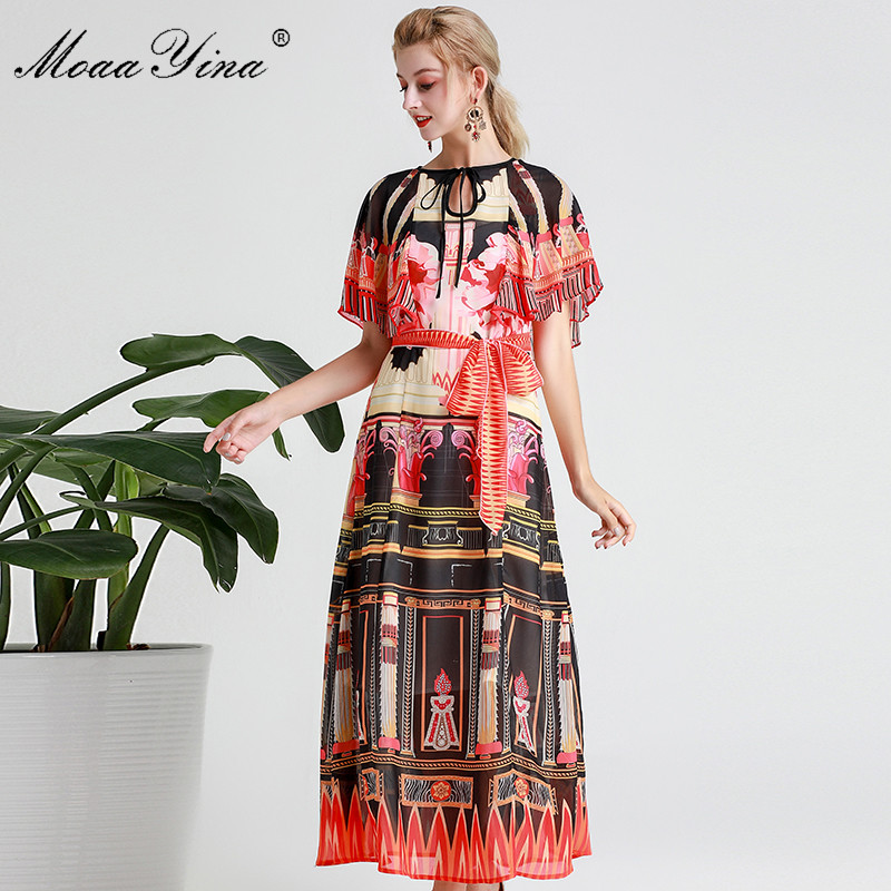 Image 5 - MoaaYina Fashion Designer Runway dress Spring Summer Women Dress  Vintage Print Elegant Lace Up Maxi DressesDresses