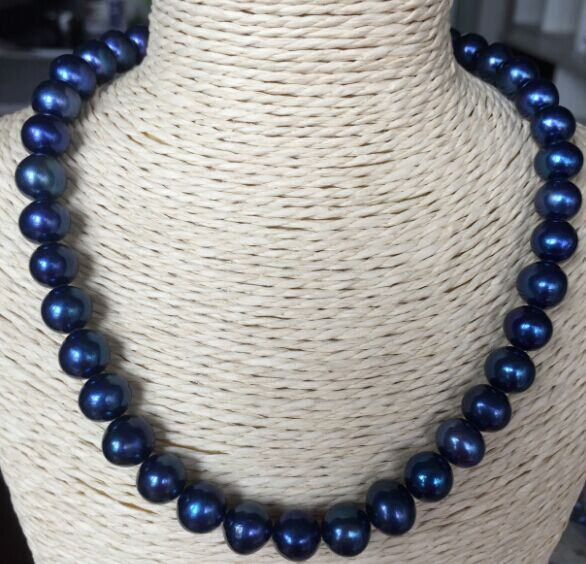 elegant 9-10mm round Tahitian black blue round pearl necklace 18inch 925silver цена и фото