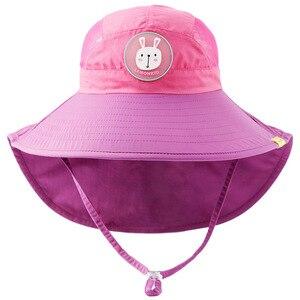 Image 5 - Детская шляпа от солнца Kocotree с широкими полями, детская Панама, летняя пляжная шляпа для девочек, для путешествий, для улицы, Новая модная Милая Повседневная шляпа от солнца