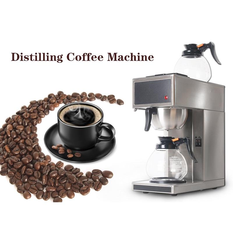 Cafetera automática para destilación americana, máquina de café para el hogar, cafeteras comerciales con 2 uds. Ollas de café de 1.8L Manguera de 4 vías de 1