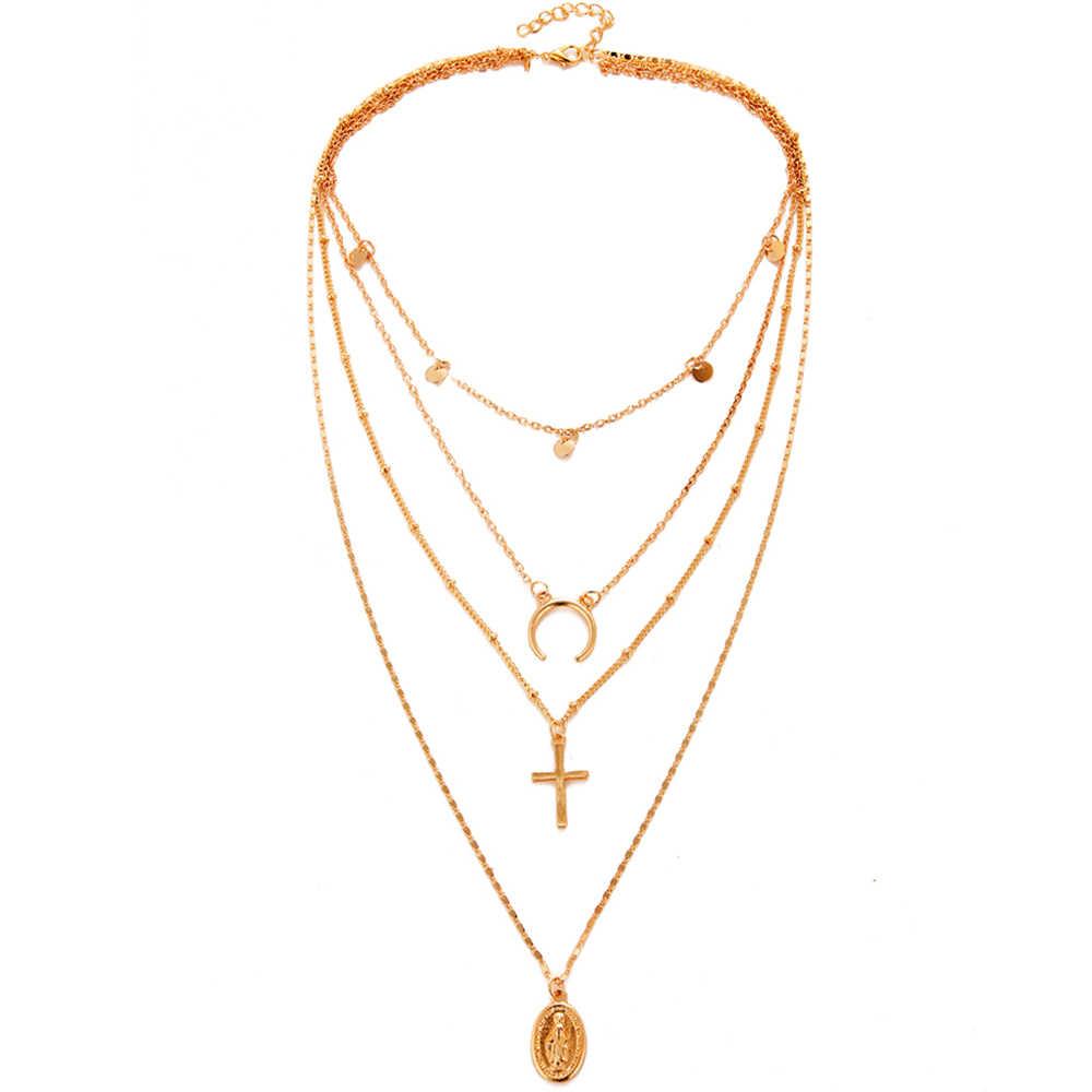 В богемном стиле многослойное ожерелье с подвеской для Для женщин моды, Геометрическая Шарм цепи ожерелье, оптовая продажа Украшений