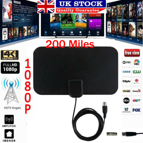 Flat Indoor Digital Tv Antenna 50-100 Miles Range Signal 1080P Amplified HDTV LN