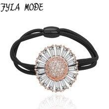 Fyla Mode New Hair Elastic Ring High AAA Zircon Stone Crystal Flower Rope Headdress Jewelry Cute Girls Hairband