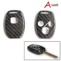 1 pz 100% Vera Fibra di Carbonio Chiave Fob chiave shell caso chiave copertura di Caso di Shell per HONDA Accord CIVIC JAZZ FIT Auto-Styling accessori