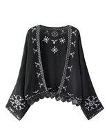 Charming Women Fashion Autumn Casual Long Sleeves Embroided Lace Ethnic Style Cardigan Coat
