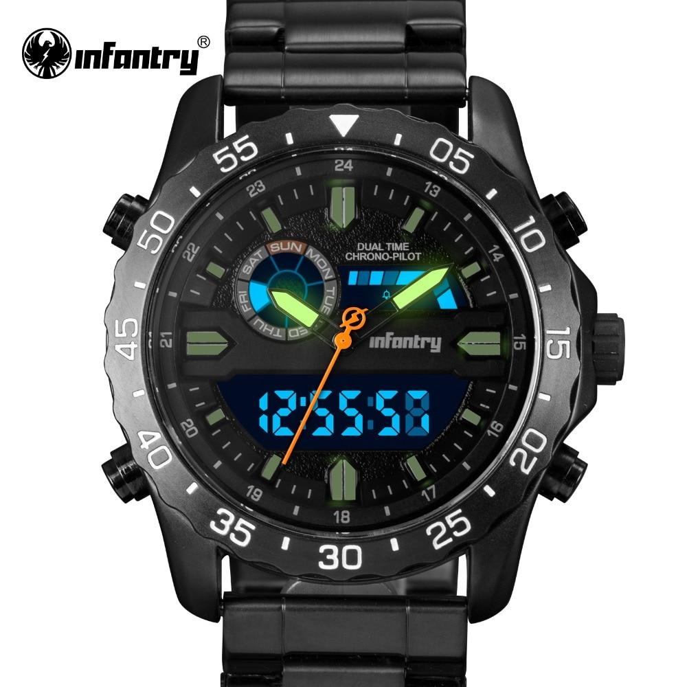 INFANTRY Military Watch Men LED Digital Quartz Mens Watches Top Brand Luxury 2018 Dual Time Sport Army Aviator Relogio Masculino все цены