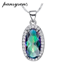 PANSYSEN Top Quality 925 Sterling Silver Jewelry Pendant Necklace 8x15mm Oval Gemstone Necklaces For Women Wholesale Party Gifts