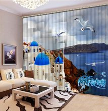Sea castle customize window curtain bed room high shading blackout curtain living room home windows(China)