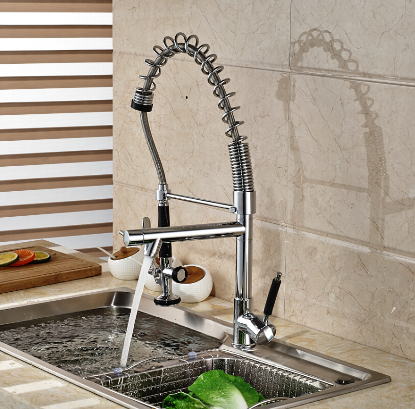 Luxury Deck Mounted Brass Kitchen Faucet Chrome Dual Spout Sink Mixer Tap for Kitchen
