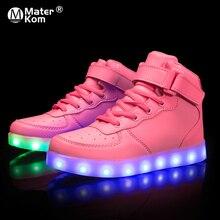 크기 25 37 어린이 LED 신발 빛나는 유일한 틴 바구니와 빛나는 스 니 커 즈 빛 신발 스 니 커 즈