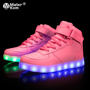Image 1 - Size 25 37 Children LED Shoes for Kids Boys Glowing Sneakers with Luminous Sole Teen Baskets Light Up Sneakers with light shoes